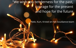 What is Christmas It is tenderness for the past, courage for the present and hope for the future. Agnes M. PahroHet Souldance team wenst je die tederheid, moed en hoop toe.Warme groeten